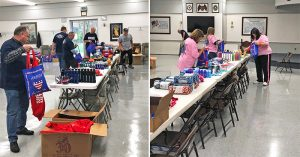 Volunteers from the Local 24 Women's Committee and SMART Army assemble care packages for homeless veterans.